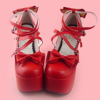 可愛い レッド 12.5cm 蝶結び 合皮 ゴム底 ロリィタ/ロリータ靴