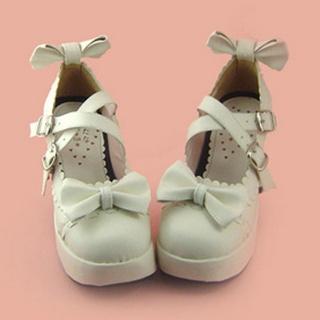 可愛い ホワイト 7.5cm 蝶結び 合皮 ゴム底 ロリィタ/ロリータ靴