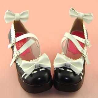 可愛い ブラックとホワイト 7.5cm 蝶結び 合皮 ゴム底 ロリィタ/ロリータ靴