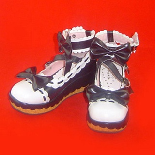 可愛い ピンクとホワイト/ブラックとホワイト 5.5cm 蝶結び ハート型バックル 合皮 ゴム底 プラット ロリィタ/ロリータ靴