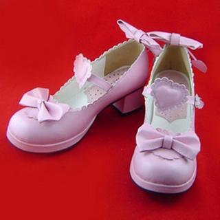 可愛い ホワイト/ピンク/ホワイトとピンク 4.5cm 蝶結び ハート型バックル 合皮 ゴム底 ロリィタ/ロリータ靴