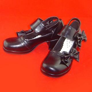 可愛い ピンク ブラック ホワイト 4.5cm 蝶結び 合皮 ゴム底 ロリィタ/ロリータ靴
