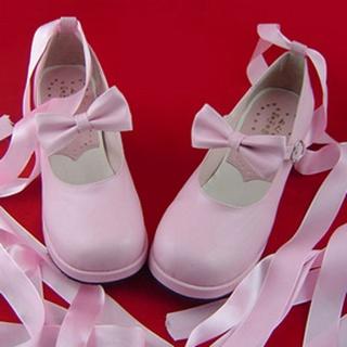 可愛い ピンク 4.5cm 蝶結び リボン 合皮 ゴム底 ロリィタ/ロリータ靴