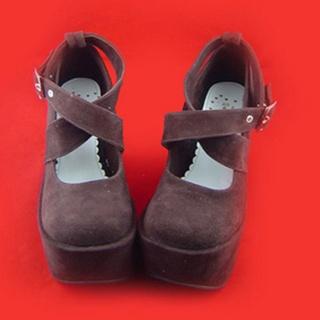 可愛い ブラック ムラサキ 12cm 棉ネル ロリィタ/ロリータ靴