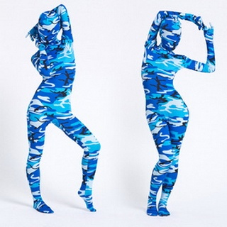 Blue Zebra Lycra Breathable Zentai Suit