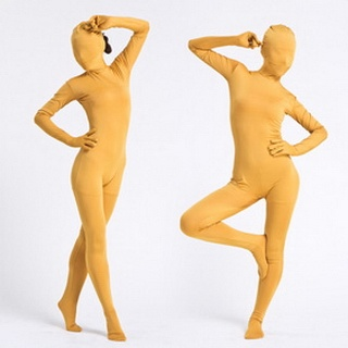 Yellow Lycra See-Through Zentai Suit