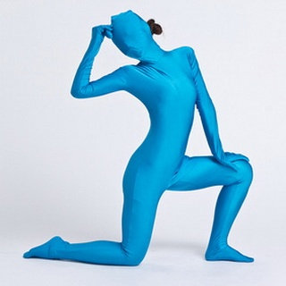 Sexy Aqua Blue Lycra Female  Zentai Suit