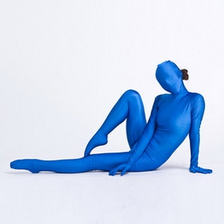 Sexy Blue Lycra Female  Zentai Suit