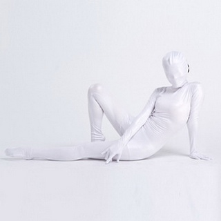 Sexy White Knitted Fabric Female Zentai Suit