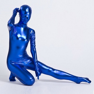 Metallic Blue Knitted Fabric Female Zentai Suit