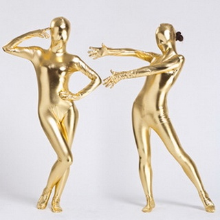 Metallic Golden Knitted Fabric Female Zentai Suit