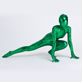 Metallic Green Knitted Fabric Female Zentai Suit