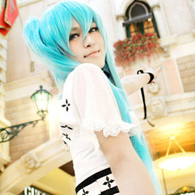 Blue High-temperature Fiber ! Vocaloid New color Hatsune Miku Long Nylon Cosplay Wig