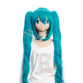 VOCALOID Hatsune Miku Blue 100cm Long Nylon Cosplay Wig