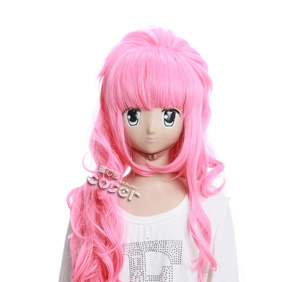 VOCALOID Megurine Luka Pink 80cm Long Nylon Wavy Cosplay Wig