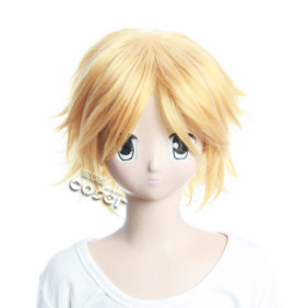 VOCALOID Secret Police Kagamine Rin Golden Short Nylon Cosplay Wig