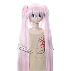 VOCALOID Type-H Hatsune Miku Pink 1Long Nylon Straight Cosplay Wig