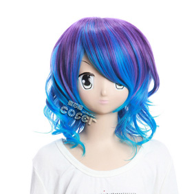 VOCALOID Kagamine Rin Purple&Blue Short Nylon Curly Cosplay Wig