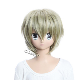 Katekyo Hitman RebornGuardian Of Cloud Golden Short Nylon Cosplay Wig