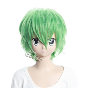 Katekyo Hitman Reborn Guardian Of Thurde Green Short Nylon Cosplay Wig