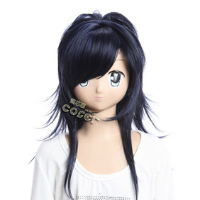Katekyo Hitman Reborn Crome Skull (10 years later) Black Semi-long Nylon Cosplay Wig