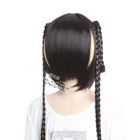 Gujian Xiangling Black  Short Nylon Cosplay Wig