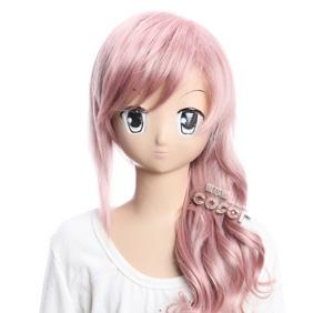 FINAL FANTASY Lightning Pink Semi-long Nylon Wavy Cosplay Wig