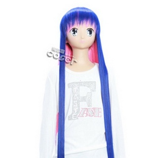 Panty & Stocking with Garterbelt Stocking Blue&Pink Long Nylon Straight Cosplay Wig