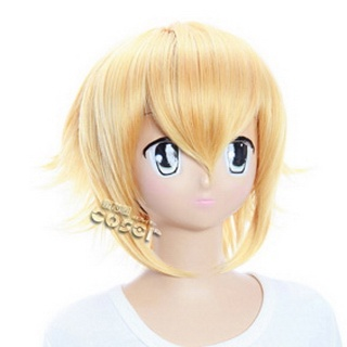 Hakuouki Kazama Chikage Golden  Short Nylon Cosplay Wig