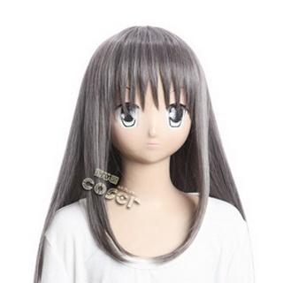 魔法少女まどか☆マギカ 暁美 ほむら(あけみ - ) グレー 耐熱新素材 ロング コスプレウィッグ