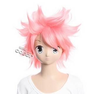 Fairy Tail Natsu Dragneel Pink Short Nylon Cosplay Wig