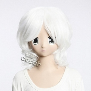 Sengoku BASARA Takenaka Shigeharu White Short Nylon Curly Cosplay Wig