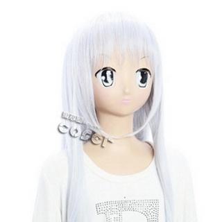 Kore wa Zombie Desu ka?Yu White Long Nylon Curly Cosplay Wig