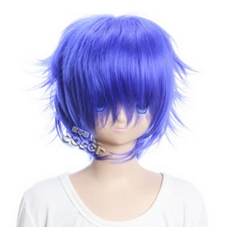 Blue Short Nylon Curly Cosplay Wig