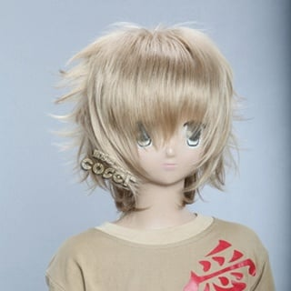 Golden Short Nylon Curly Cosplay Wig