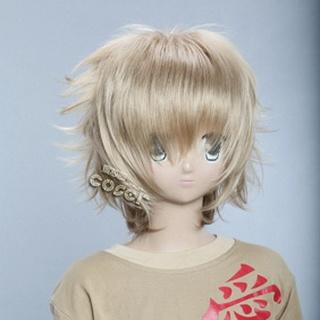 Golden Short Nylon Curly Cosplay Wig