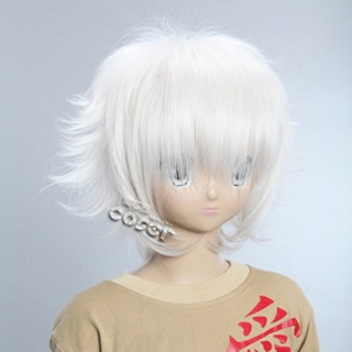 White Short Nylon Curly Cosplay Wig