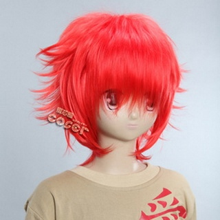Red Short Nylon Curly Cosplay Wig