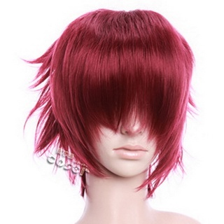 Wine Red  Short Nylon Curly Cosplay Wig