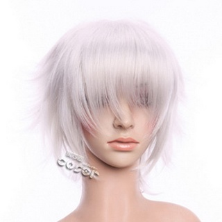 Silver Short Nylon Curly Cosplay Wig