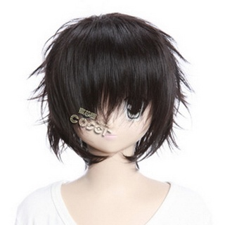 Black  Short Nylon Curly Cosplay Wig
