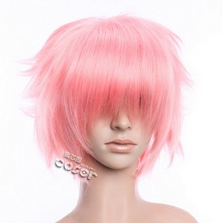 Pink Short Nylon Curly Cosplay Wig