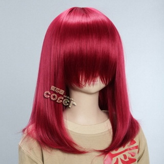 Red Semi-long Nylon Straight Cosplay Wig