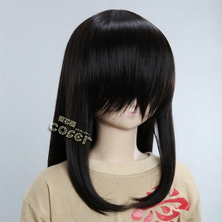 Black Semi-long Nylon Straight Cosplay Wig