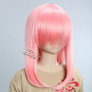 Pink Semi-long Nylon Straight Cosplay Wig