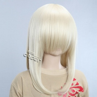 Golden Semi-long Nylon Straight Cosplay Wig
