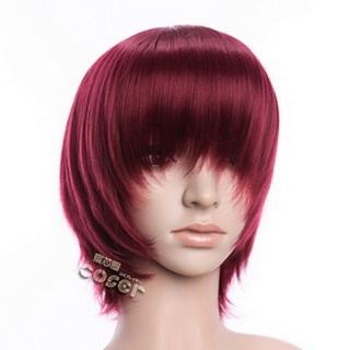 Wine Red Short Nylon Straight Cosplay Wig