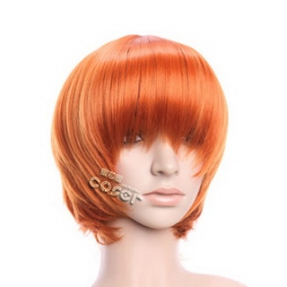 Orange Short Nylon Straight Cosplay Wig