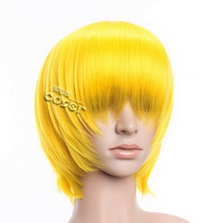 Yellow Short Nylon Straight Cosplay Wig
