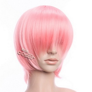 Pink Short Nylon Straight Cosplay Wig